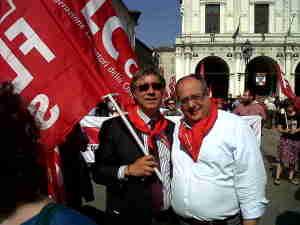 Brescia 28 maggio 2012 Le delegazioni FLC Sicilia con G. Scozzaro e FLC Veneto con S.Mazza
